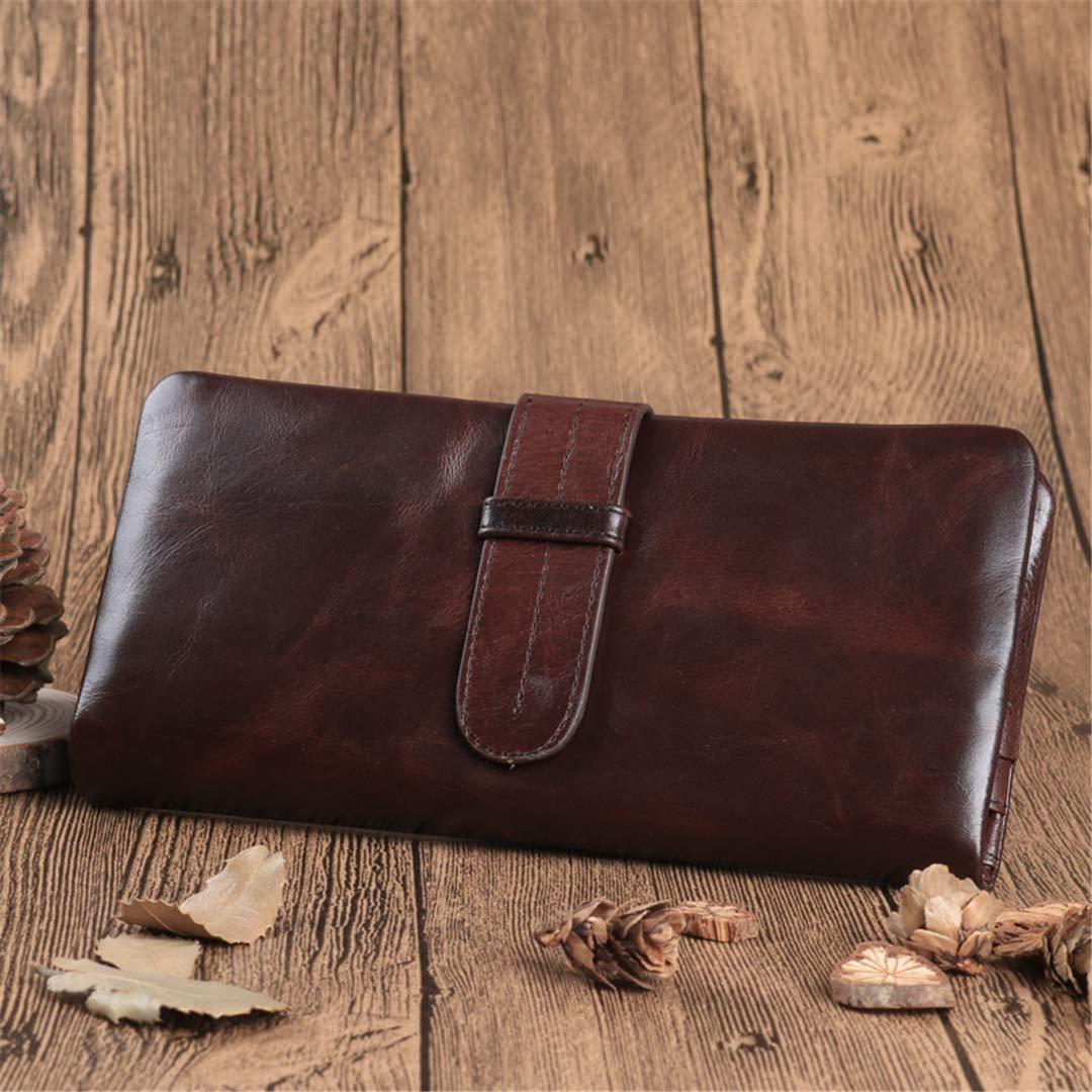 Genuine Leather Men Wallets Retro Long Wallet Male Clutch Coin Purse