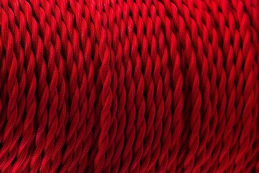 3 Core Wein Rot – Antik geflochten Twisted gewebte Seide Stoff Lampe ...