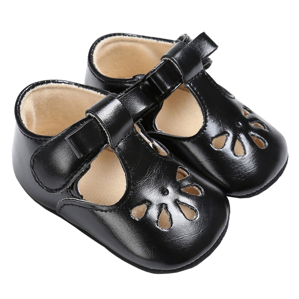 Baby Girls Christening Baptism Mary Jane Soft Sole Classic Hollow Princess Dress Flat Shoes Black Size M