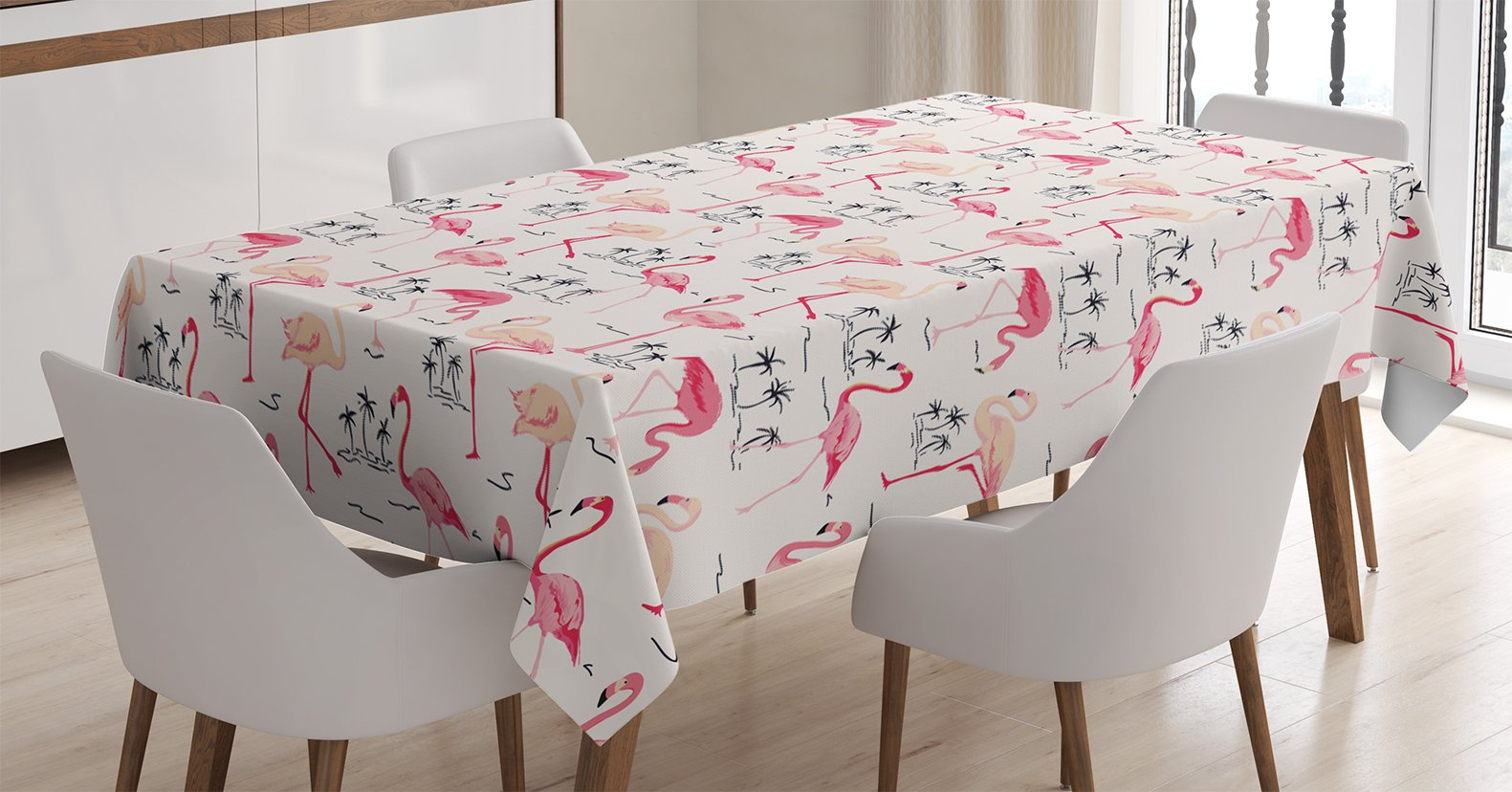 Ambesonne Flamingo Tablecloth, Flamingos in Vintage Style Illustration Love and Romantic Animals Artwork Print, Dining Room Kitchen Rectangular Table Cover, 60 W X 84 L inches, Beige Pink