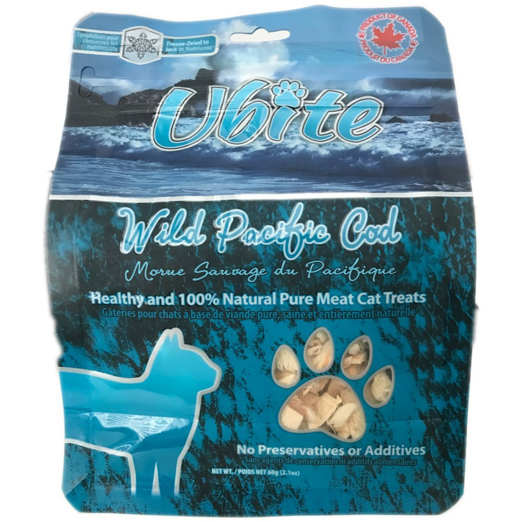 Ubite 100% Natural Pure Meat Cat Treats PACK of 4 (Wild Pacific Cod)