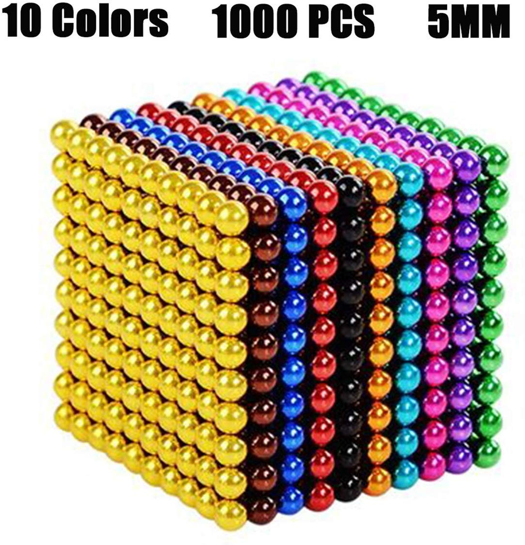 BOLLAER Buck Ball, 10 Colors 1000 Pcs of 5MM Magnets DIY Toys Magnetic Fidget Blocks Building Blocks for Development Learning and Stress Relief Magnet Office Desk Toys for Adults by BOLLAER