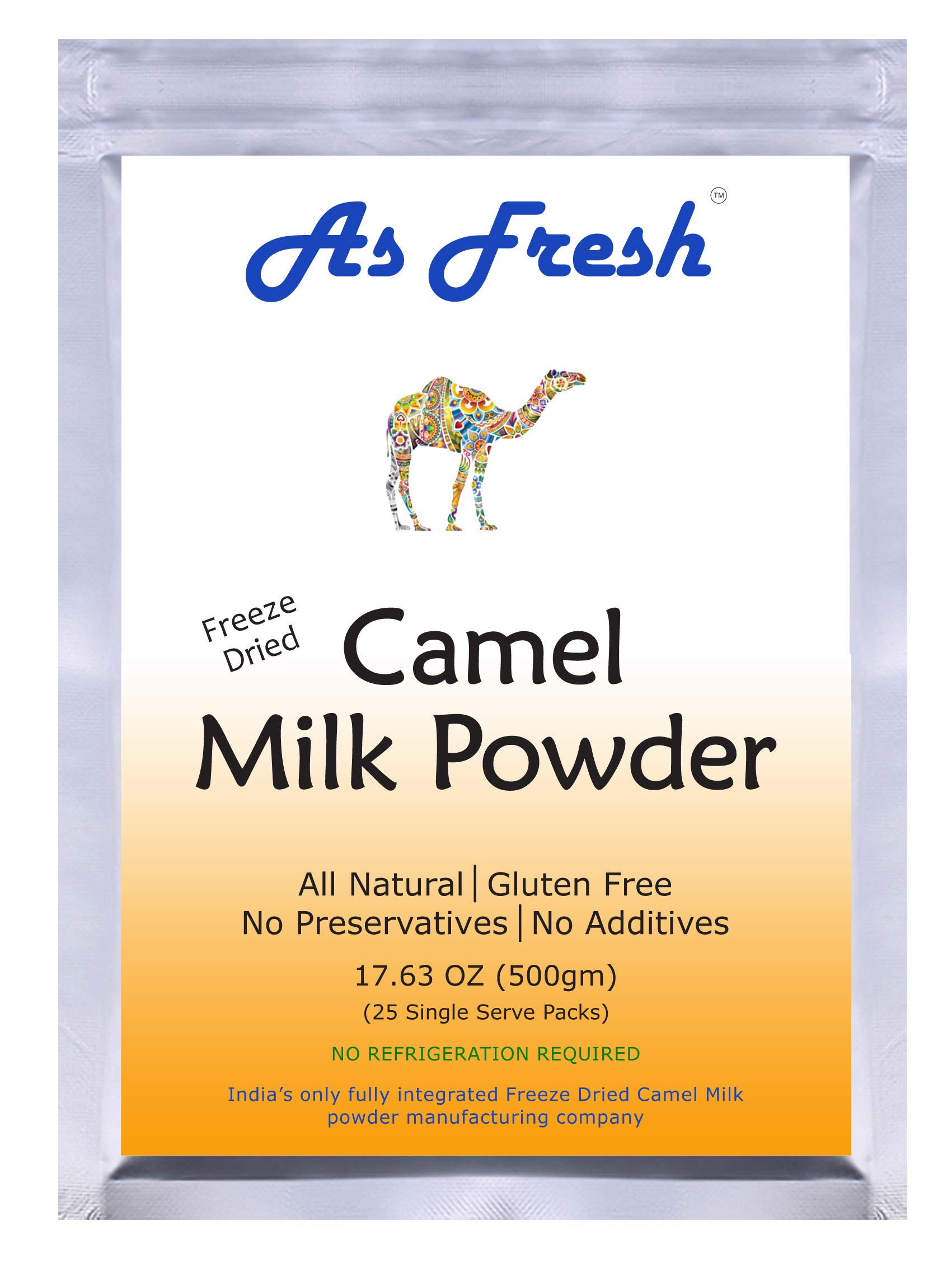 As Fresh Camel Milk Powder 17.6 oz - 25 single serve sachet of 0.7 oz, makes 176 fl oz (Freeze Dried, Gluten Free, No Additives, No Preservatives)