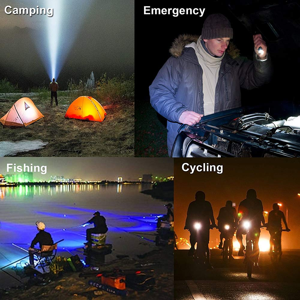 Super Bright with 5 Light Modes for Camping Portable Handheld Torch Fishing and Emergency Hunting Outdoor Water Resistant Kllarmant LED Tactical Flashlight Hiking Adjustable Focus