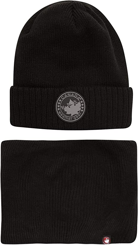 CANADA WEATHER GEAR Men's Winter Hat Set – Fleece Lined Beanie and Gaiter Scarf