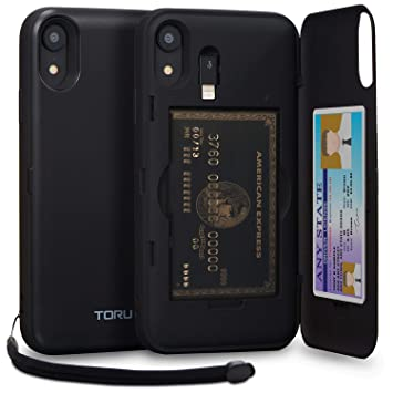 TORU CX Pro Funda iPhone XR Carcasa Cartera con Tarjetero Oculto, Adaptador Lightning, Correa Desmontable y Espejo para Apple iPhone XR (2018) - Negro ...