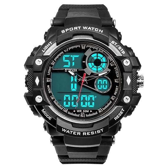 7234b3db0d45 Relojes para hombre reloj deportivo digital de cuarzo analógico Relojes  deportivos grande para adulto militar Dial impermeable para hombres y  mujeres ...
