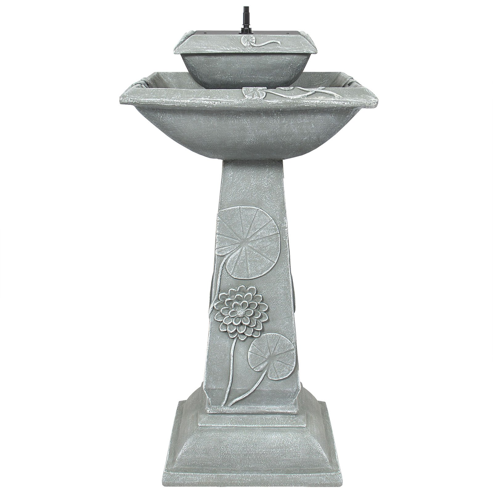 30.5'' Poly Resin 2 Tier Solar Bird Bath Fountain LED Lights w/ 4 Water Spouts by FDInspiration