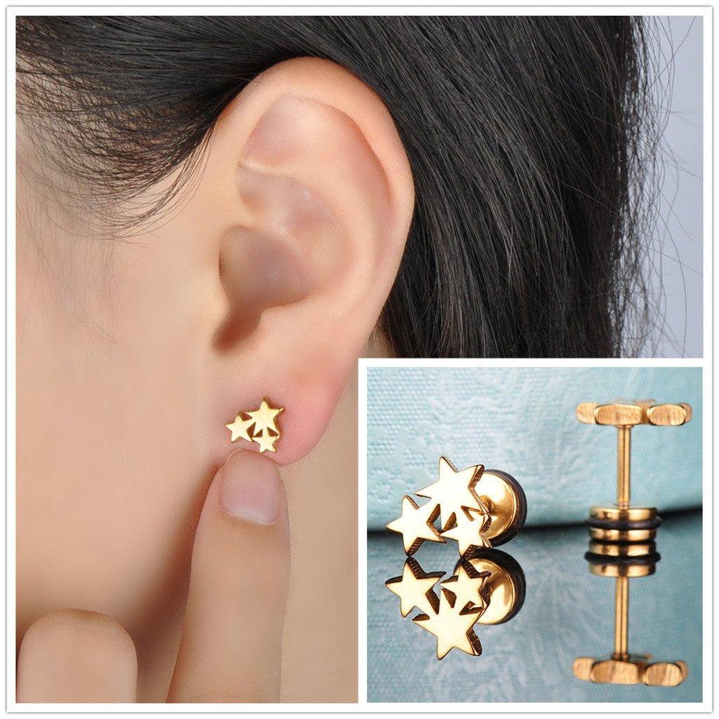 3 pares de pendientes con estrellas de 5 puntas de Yumilok, para mujer, hombre, niño, (color negro, plateado y dorado): Amazon.es: Joyería