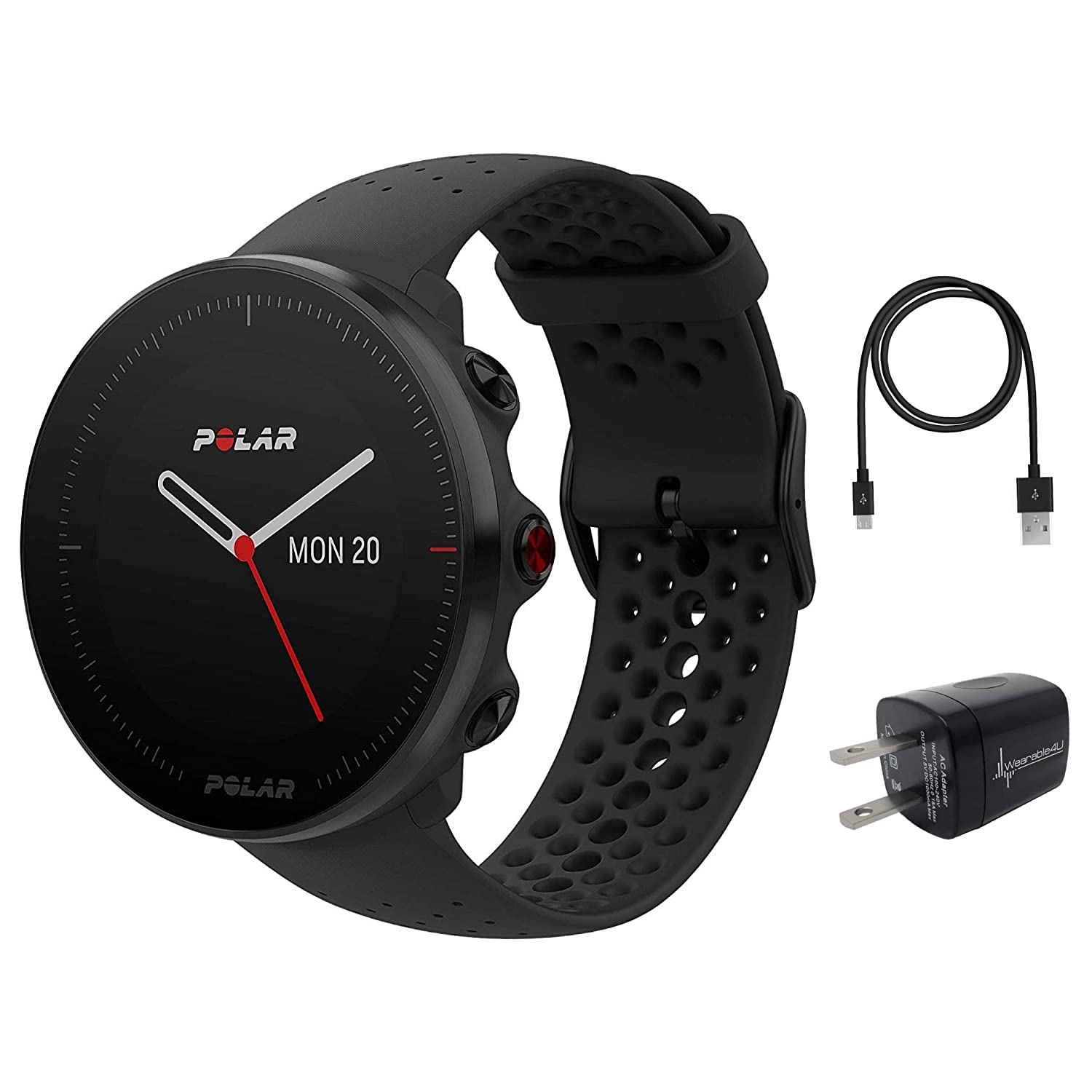 Polar Vantage M Advanced Multisport GPS Watch and Wearable4U Wall Charger Bundle M L 140-210mm Wrist , Black