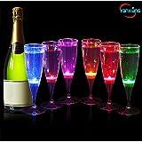 YANX 6 Pièces LED Flûtes à Champagne Liquide Activé Verre Champagne Allumer Verres à Vin Cadeau Parfait pour La Fête