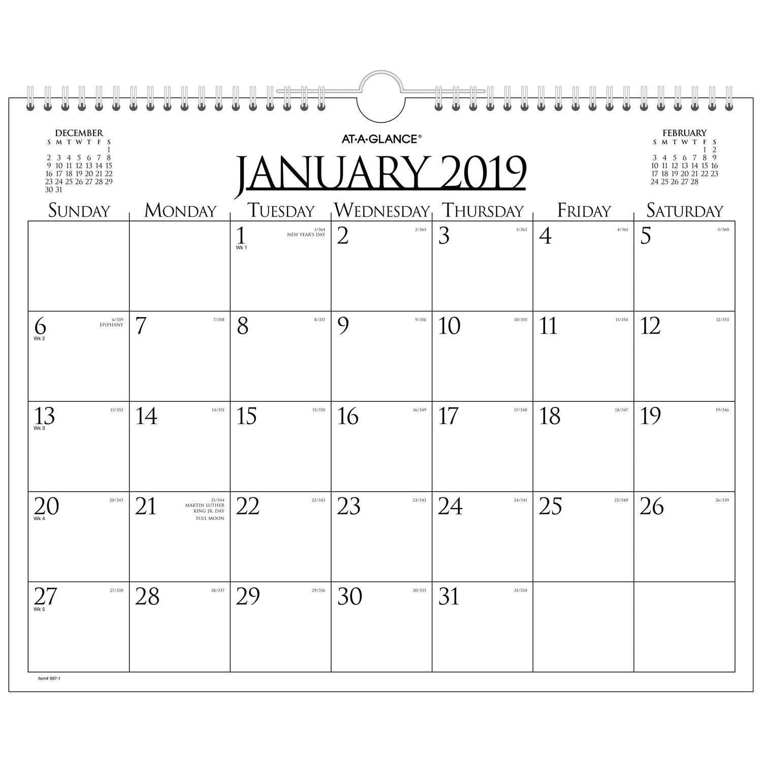 AT-A-GLANCE Monthly Wall Calendar, January 2019 - December 2019, 15'' x 12'', Business, Wirebound (997-1)