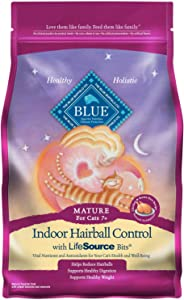 Blue Buffalo Indoor Hairball Natural Mature Dry Cat Food Chicken & Brown Rice 7-lb