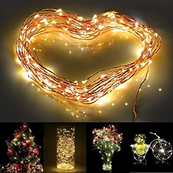 Colleer®10m 100er LED Lichterkette(Batteriebetrieben) ideale LED Beleuchtung für Valentinstag, Weinachten und Hochzeit Fest (warmweiß)