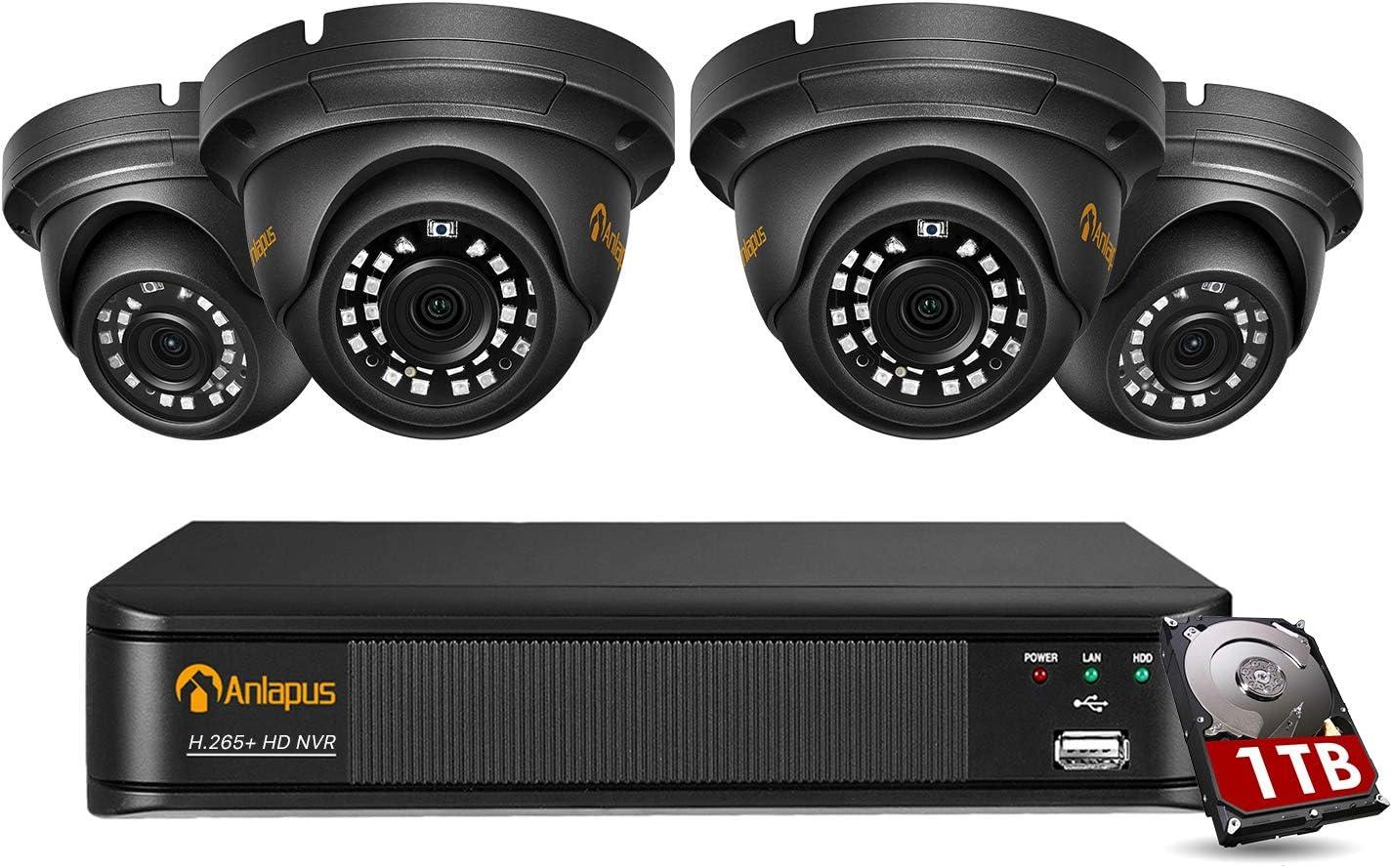 Anlapus 5MP Kit de Videovigilancia PoE 8CH H.265+ Videograbador NVR + IR Visi/ón Nocturna C/ámara de Vigilancia Seguridad PoE Exterior Alarma de Movimiento 1TB Disco Duro 4