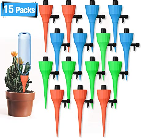 JULIAS 8 Pcs Vacation Plant Waterer Terracotta Plant Waterers Self Plant Watering Spikes Terracotta Wine Bottle Stake Set Plant Watering Devices