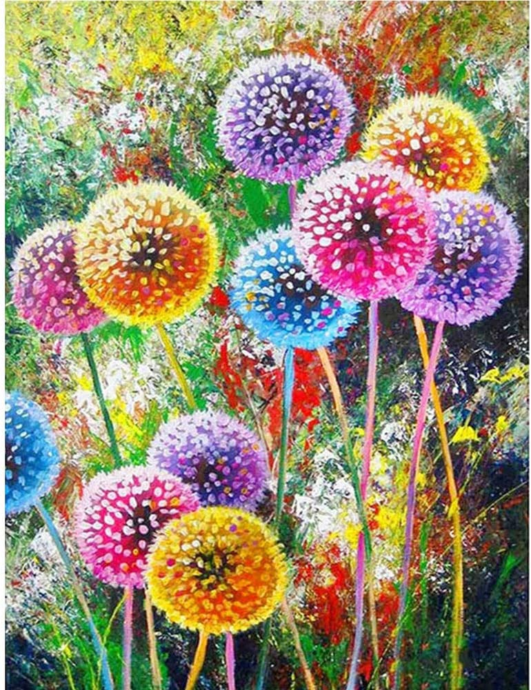 5D Full Drill Diamond-Painting Rhinestone Dandelion Plant Red Pink Kits Art