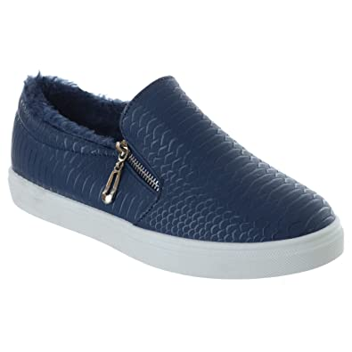 afc2d3f44419 Womens Ladies Fur Lined Flat Skater Zip UP Trainers Plimsolls Pumps Shoes  Size  Blue UK 3   EU 36   US 5   Amazon.co.uk  Shoes   Bags