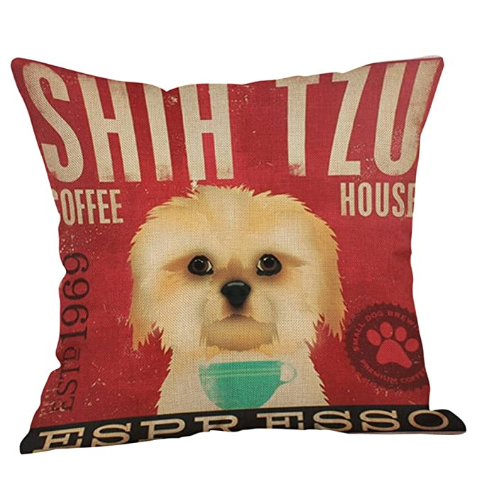 """Fashion Dress-up Dog with Glasses Linen Pillow Case Cotton Cushion Cover 18/""""x18/"""""""