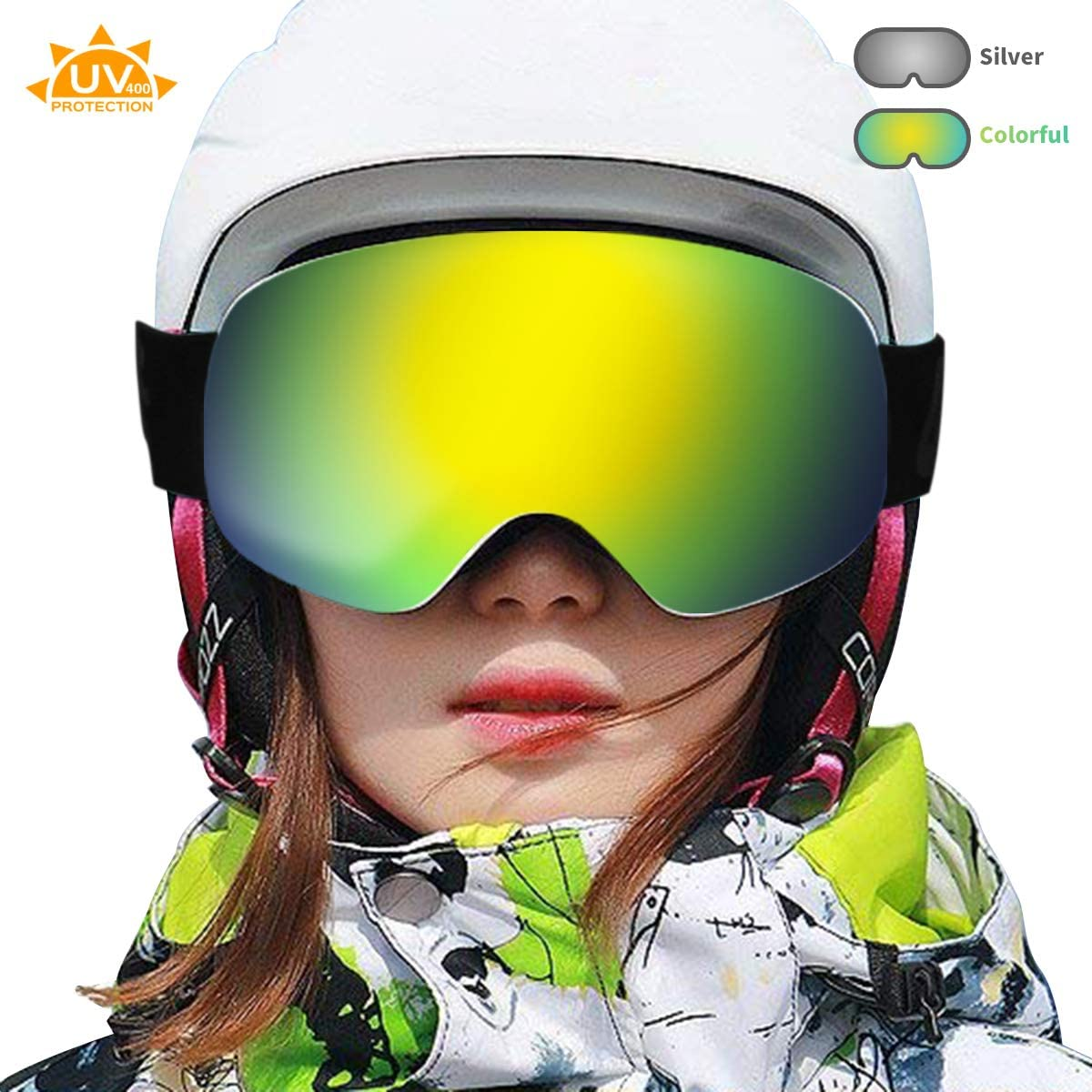 Acehome Adult OTG Helmet Compatible Ski Goggles for Skiing Snowboarding Snowmobile Skating Winter Sports, 100 UV400 Protection Anti-Fog Windproof Anti Glare