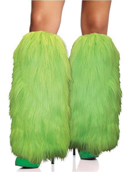 Amazon.com: Verde de neón Calentadores de piernas peludos ...