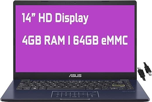 "2021 Flagship Asus Vivobook E410MA Thin and Light Laptop 14"" HD Display Intel Celeron N4020 4GB RAM 64GB eMMC Intel HD Graphics 600 USB-C HDMI Win10 (Star Balck)+ iCarp HDMI Cable"