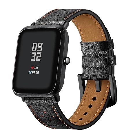 zolimx correas de Reloj de Cuero Perforado Correa de Repuesto para Xiaomi Huami Amazfit Bip Reloj