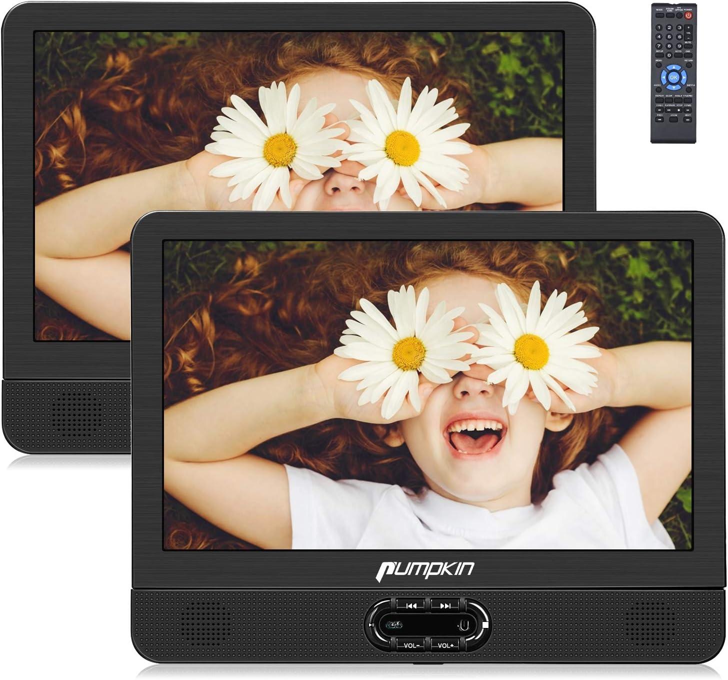 """Pumpkin 12"""" DVD Portátil Coche 2 Pantallas, Reproductor para Reposacabezas de Coche/ TV de Casa para Niños en Viaje soporta USB/ SD/ CD, Región Libre, con Control Remoto"""