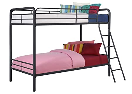 amazoncom dhp twin over twin metal bunk bed black kitchen dining
