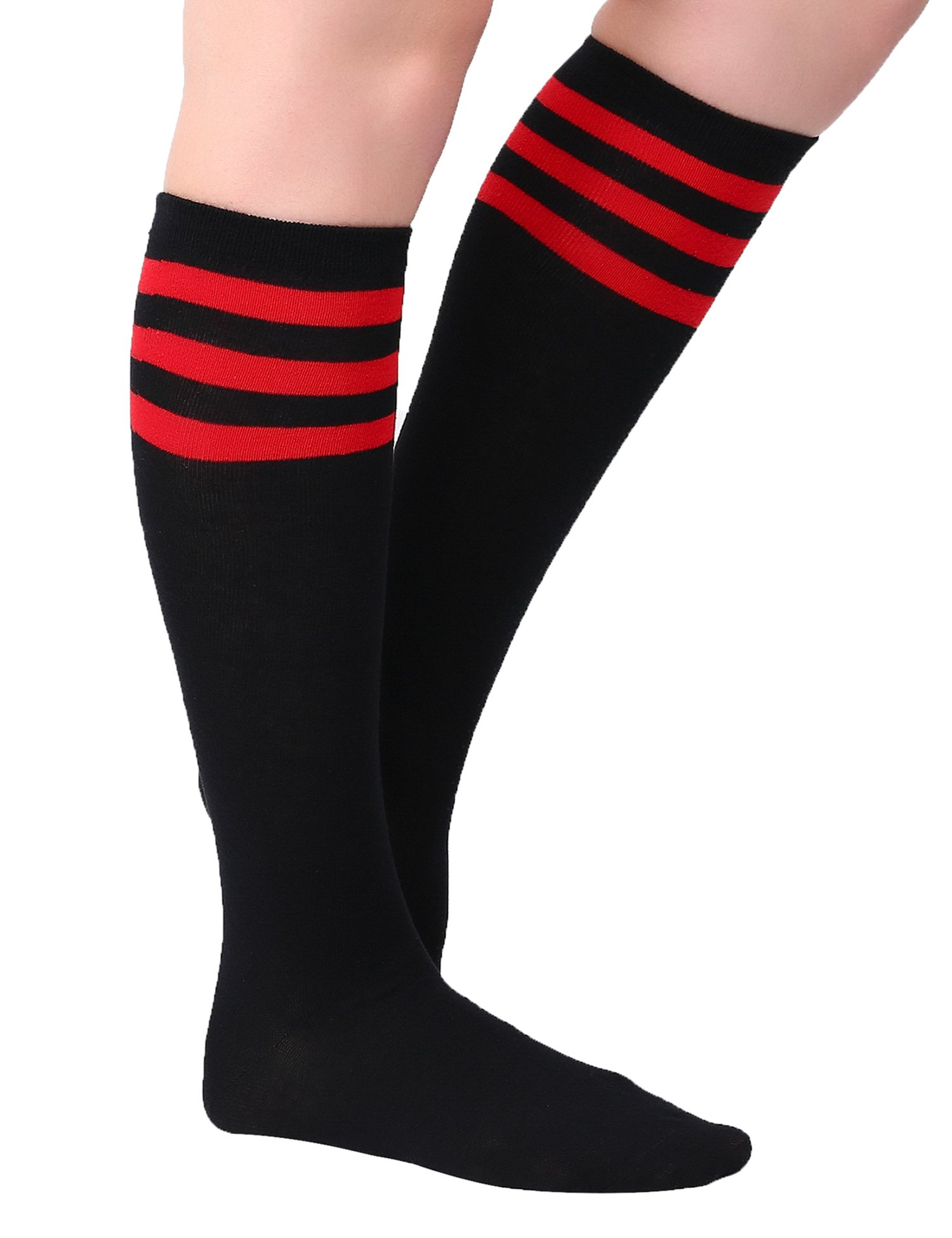 Joulli Women's Casual Stripe Knee High Socks, Black 3 Pairs, One Size by Joulli (Image #4)