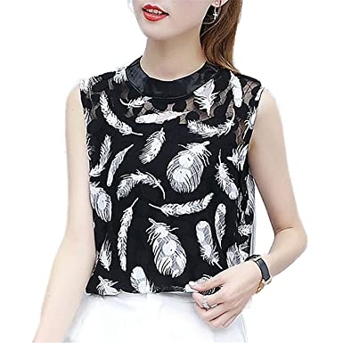 OUXIANGJU Summer Women Feather Print Shirts Black Lace Tops Sleeveless Beading Zipper Blouse