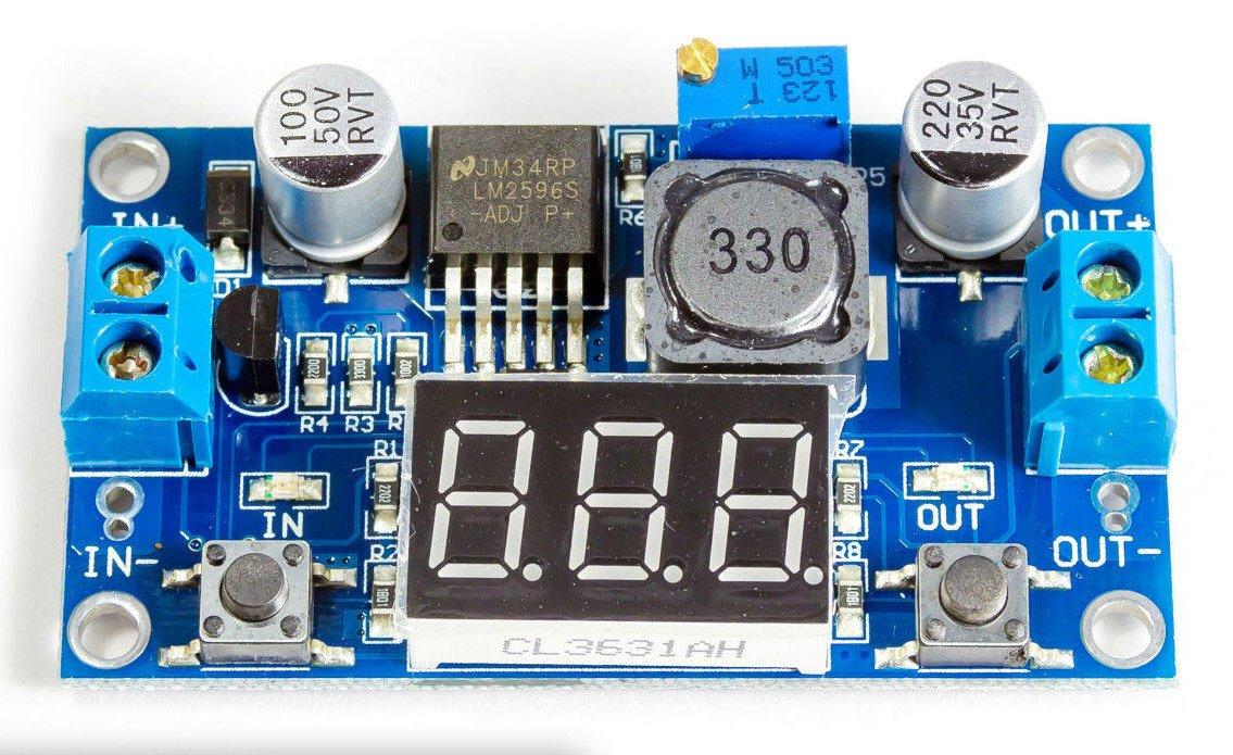 Regulador de tensi/ón DC de DC incl Volt/ímetro LM2596S von3,2/ /35/V Arduino BEC /40/V nach1,25/
