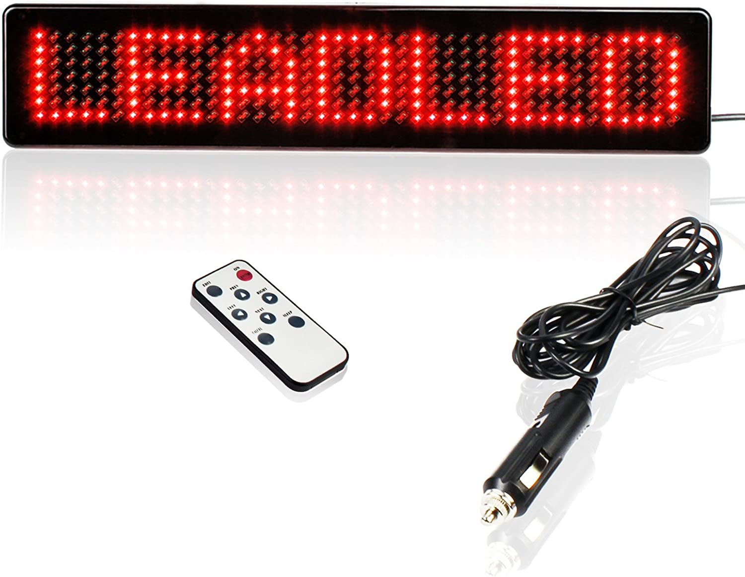 Leadleds 12V Led Car Sign Scrolling Message Display Board Remote Programmable for Car Windows, Shop, Store, Business (Red)