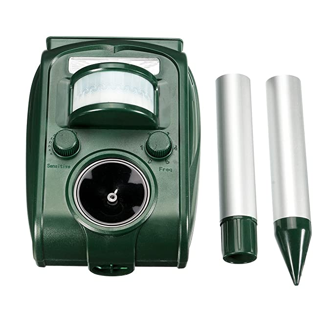 Repelente Ultrasónico, Drillpro Outdoor repeller para Los Animales con LED Que Destella, Modo de la Frecuencia Ajustable 5 con el Sensor Ajustable de PIR.