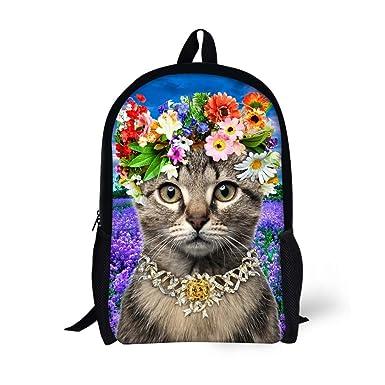 a3f3d68713c HUGS IDEA Stylish 3D Animal Travel Bag Pet Cat Pattern Kids School Backpacks