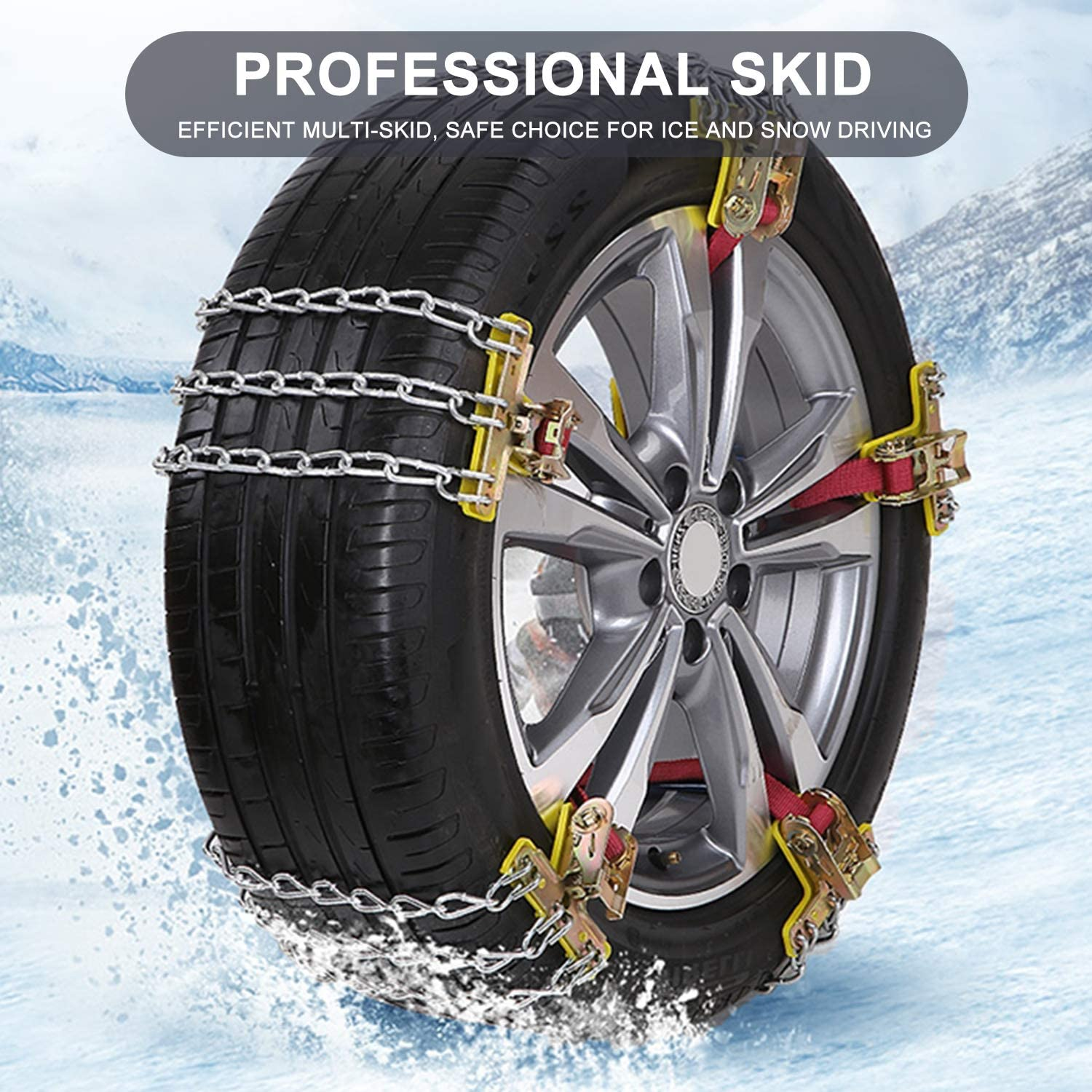 Fit for Most Car // SUV // Truck 8 Pcs//set Universal Car Snow Chains Anti-slip Chains Fit 165mm-195mm Come with Gloves Car Snow Chains