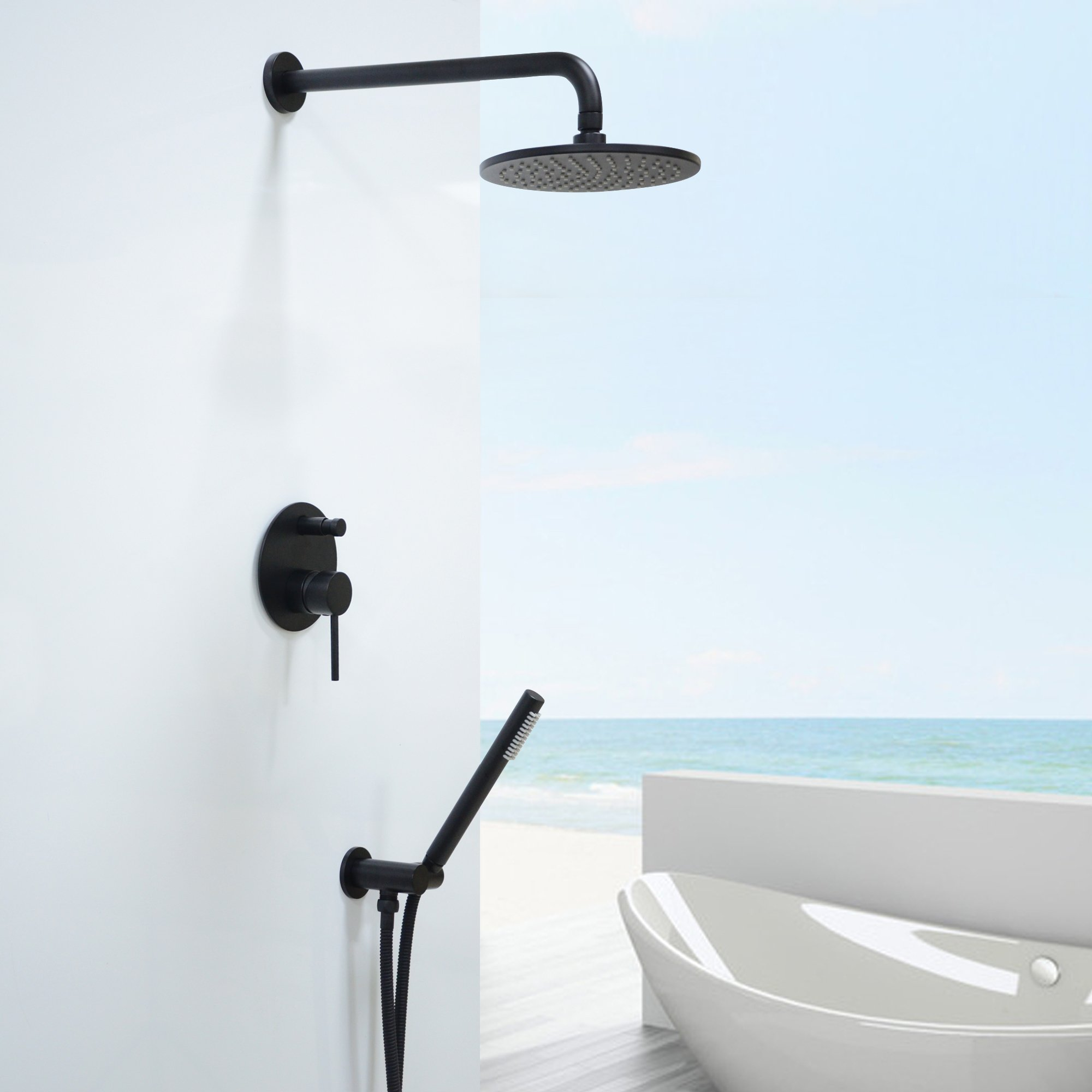 Luxury Oil Rubbed Bronze Black Bath Shower Faucet Set 8'' Rain Shower Head + Hand Shower Spray by Sprinkle (Image #4)