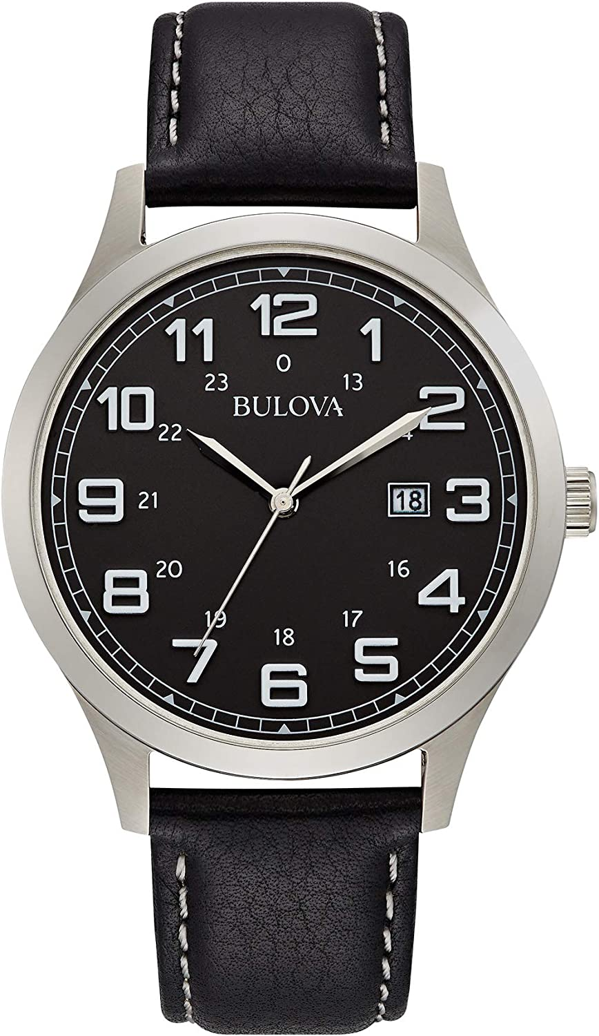 Bulova Dress Black Dial Stainless Steel Mens Watch 96B276