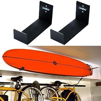 Unho® Soporte de Pared para Tabla de Surf, Un Par de Sostenedor Colgante, Estante de Pared para Tablas de Surf,de Aluminio Inoxidable,18x10x7cm: Amazon.es: ...
