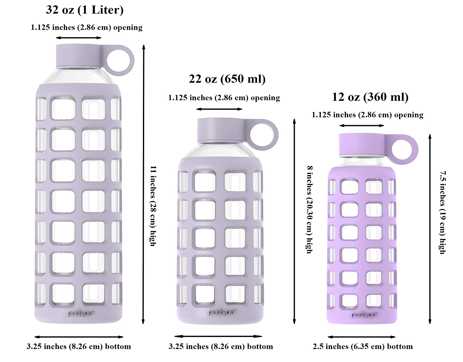 purifyou Premium Glass Water Bottle with Silicone Sleeve and Stainless Steel Lid 32 oz 12//22