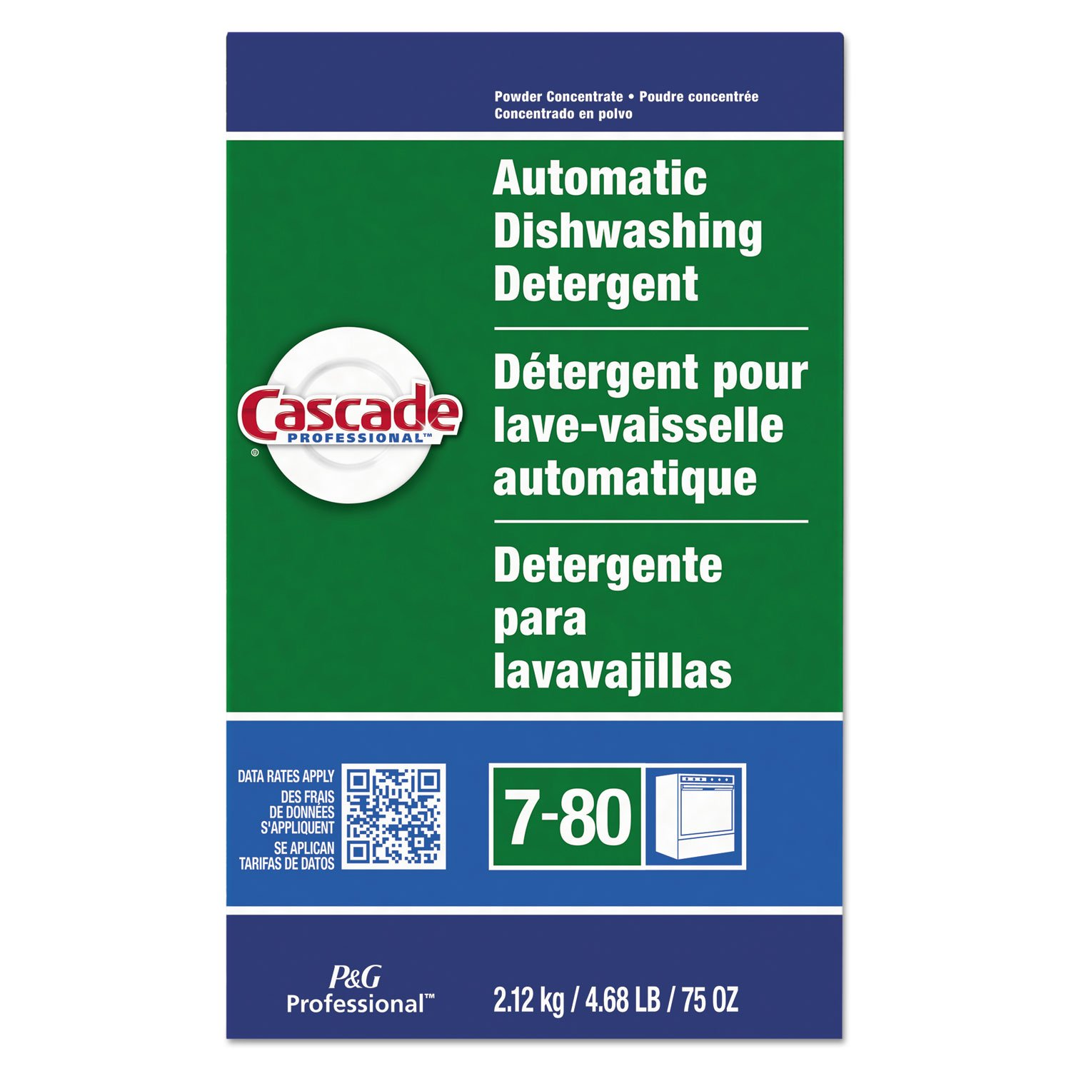 Bulk Dishwasher Detergent Powder by Cascade Professional, for use in Automatic Dishwashers within Commercial Kitchens, Fresh Scent, 75 oz. (Case of 7)