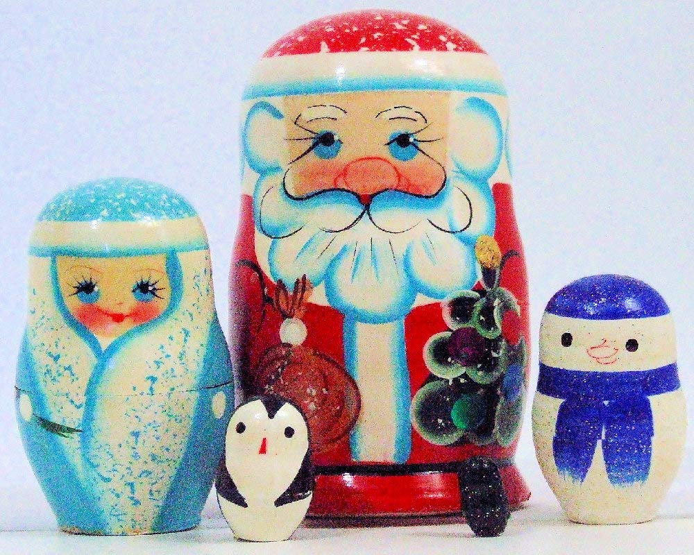 5pcs Hand Painted Russian Nesting Doll of Santa & Friends Made in Russia by Olga's Russian Collectibles