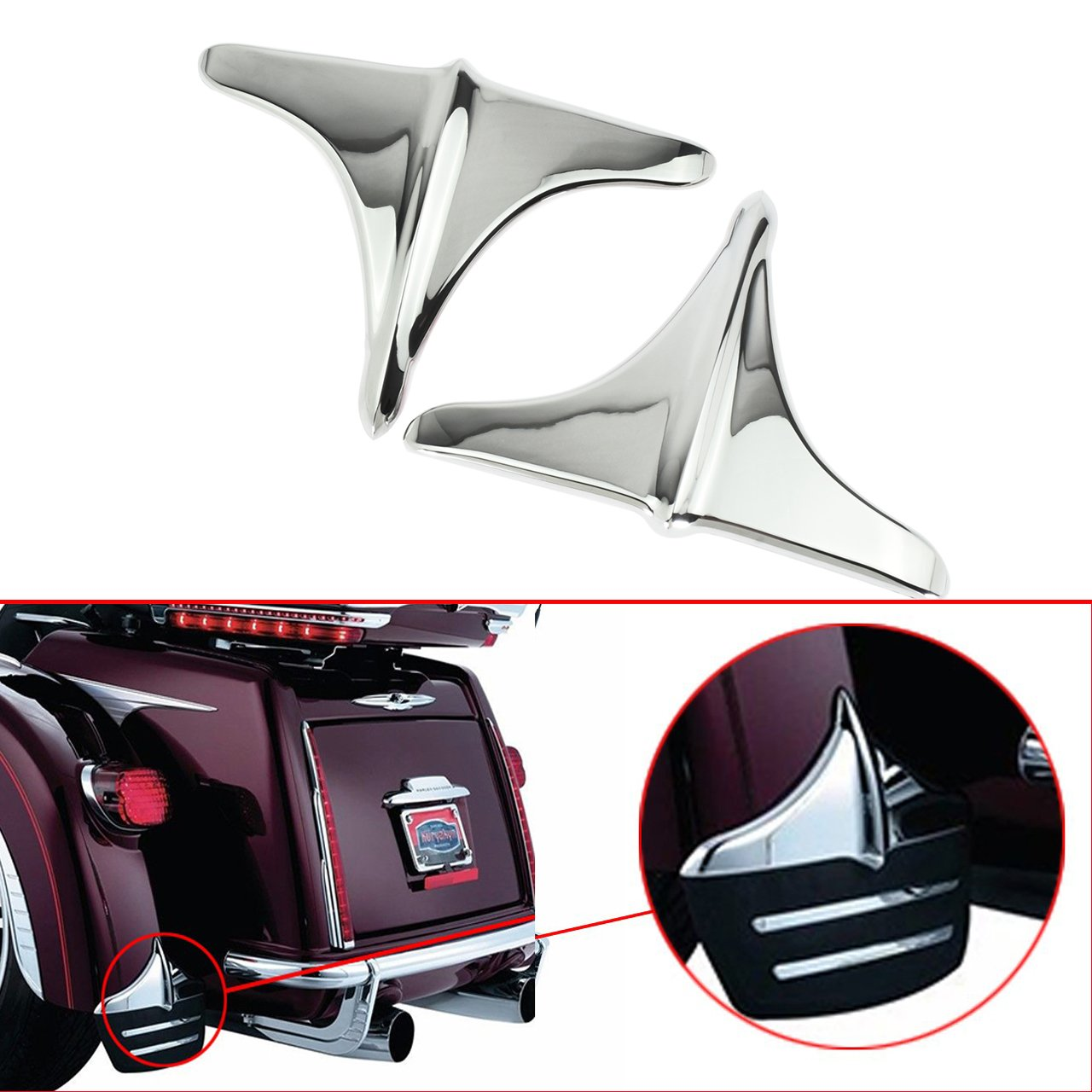 Motorcycle Rear Fender Accents Leading Front Edge Trim for Harley Touring Trikes FLHX FLHT 2009-2016 2017,Black
