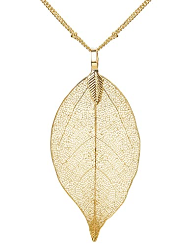 Amazon thunaraz real natural filigree leaf earrings long thunaraz real natural filigree leaf earrings long pendant necklace gold silver plated trendy costume jewelry aloadofball Image collections