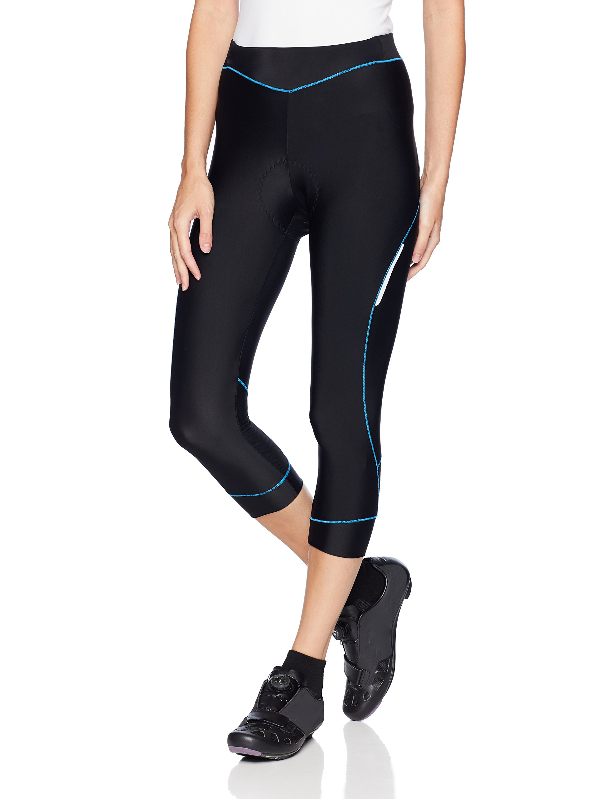 4ucycling Women Premium 3D Padded Breathable ¾ Cycling Tights ,Women's Running Pants ;Women's Recreation Pants