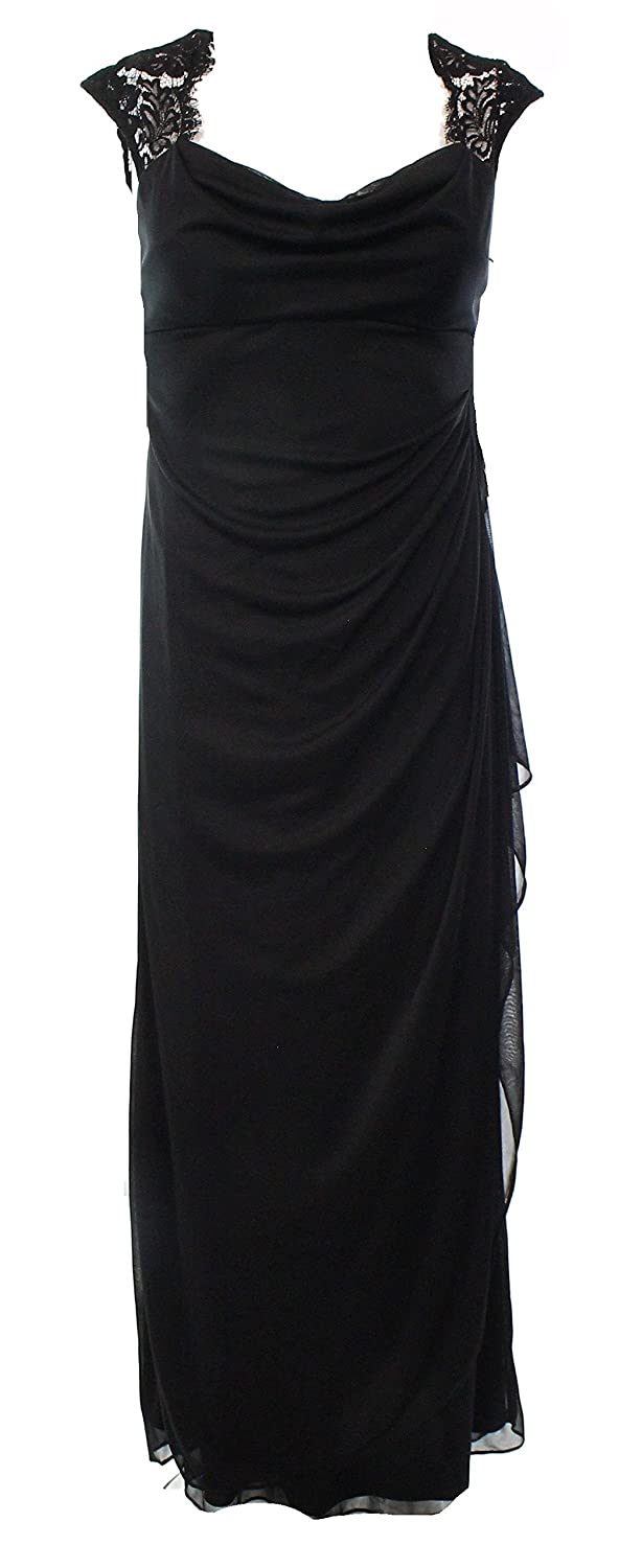 XScape Full Length Lace & Mesh Evening Gown Black
