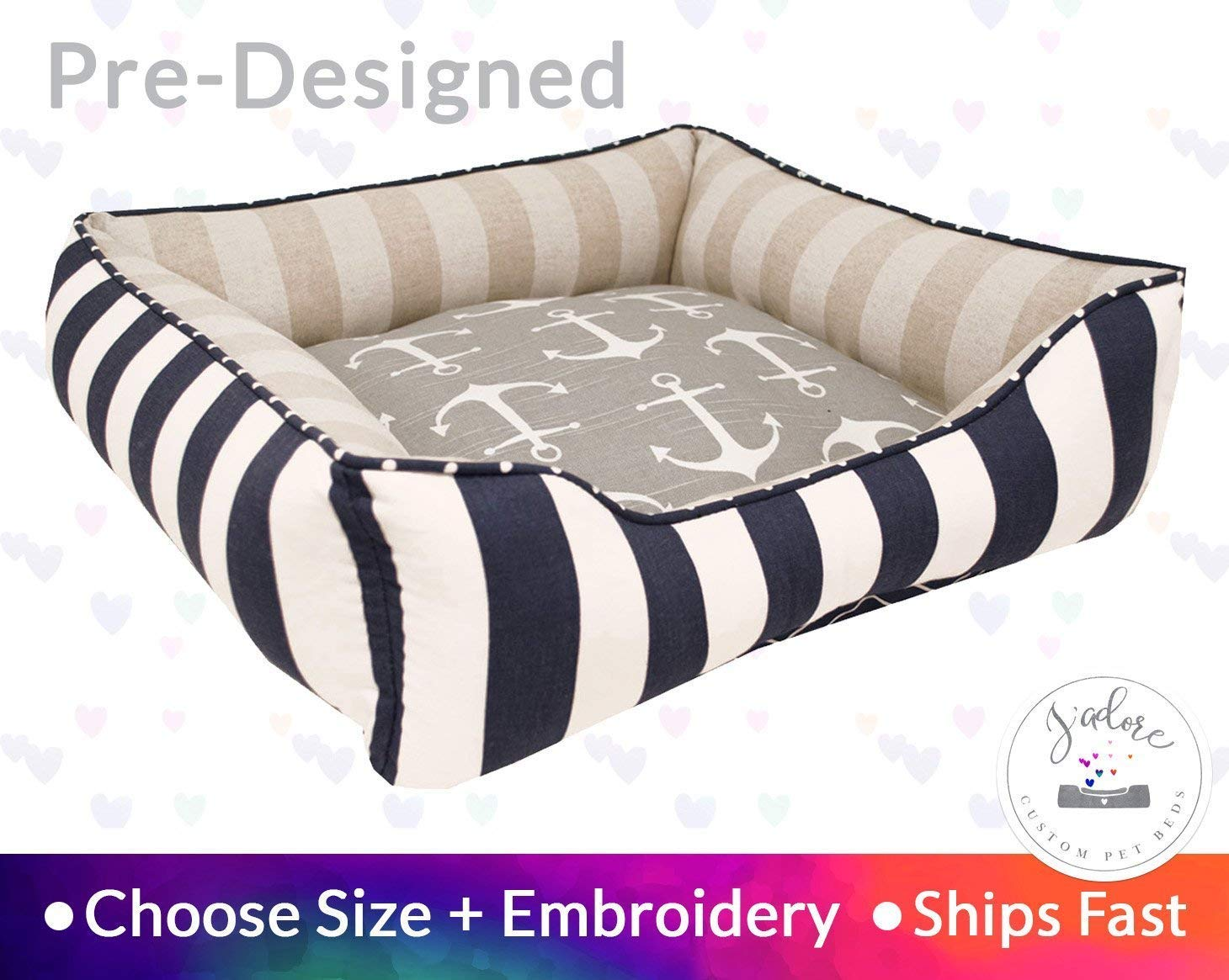 Nantucket Dog Bed Nautical Pet Bed Cat Bed Personalize Embroidery Anchors Linen Navy Blue Grey