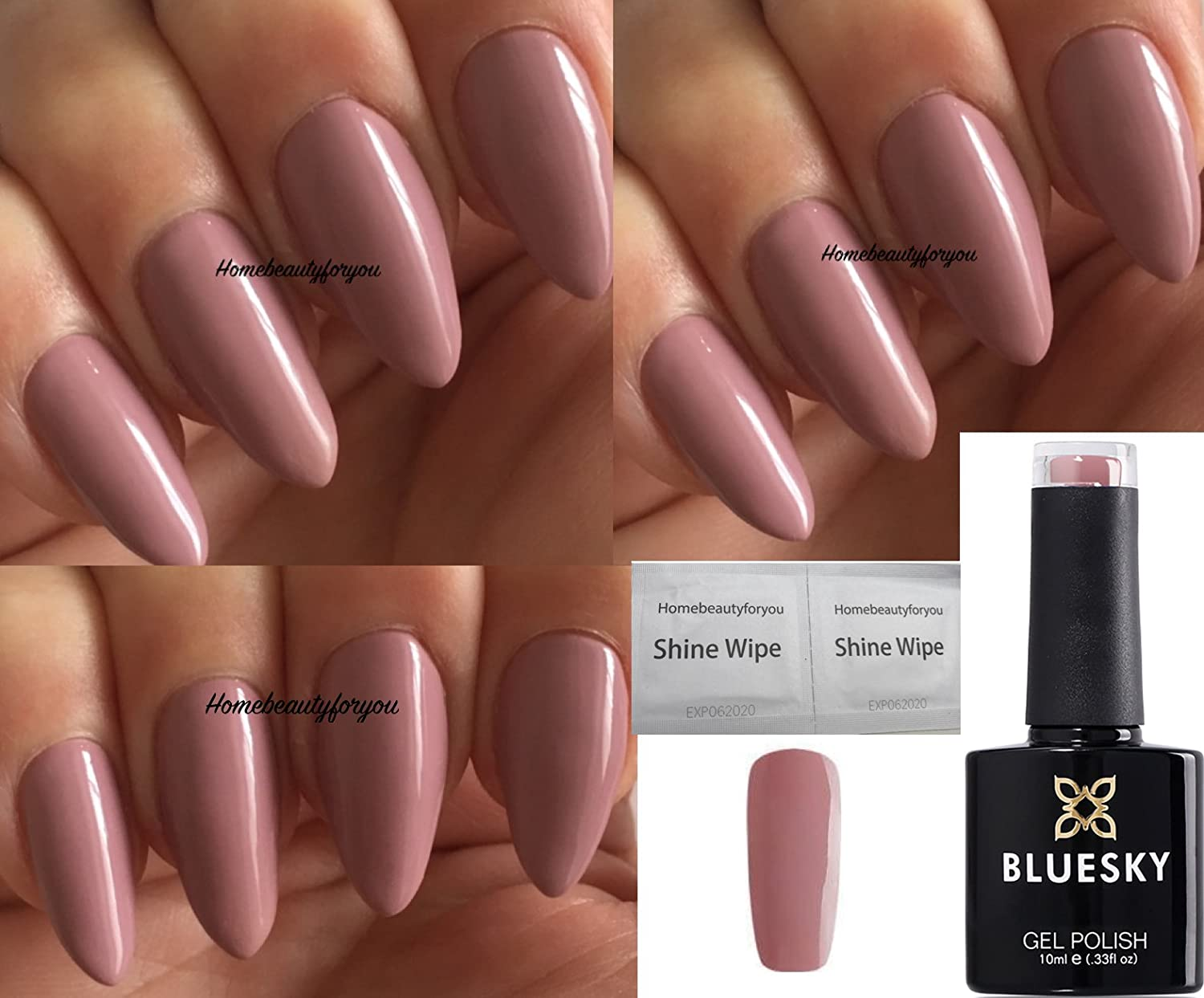 Bluesky DC72 Deep Fawn, Soft Mauve Dence Range Nail Gel Polish UV LED Soak Off 10ml PLUS 2 Luvlinail Shine Wipes LTD