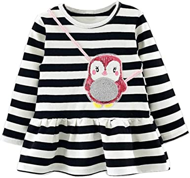 Memela Baby Clothes,Baby Girls Long Sleeve Casual Cotton Printed Dresses