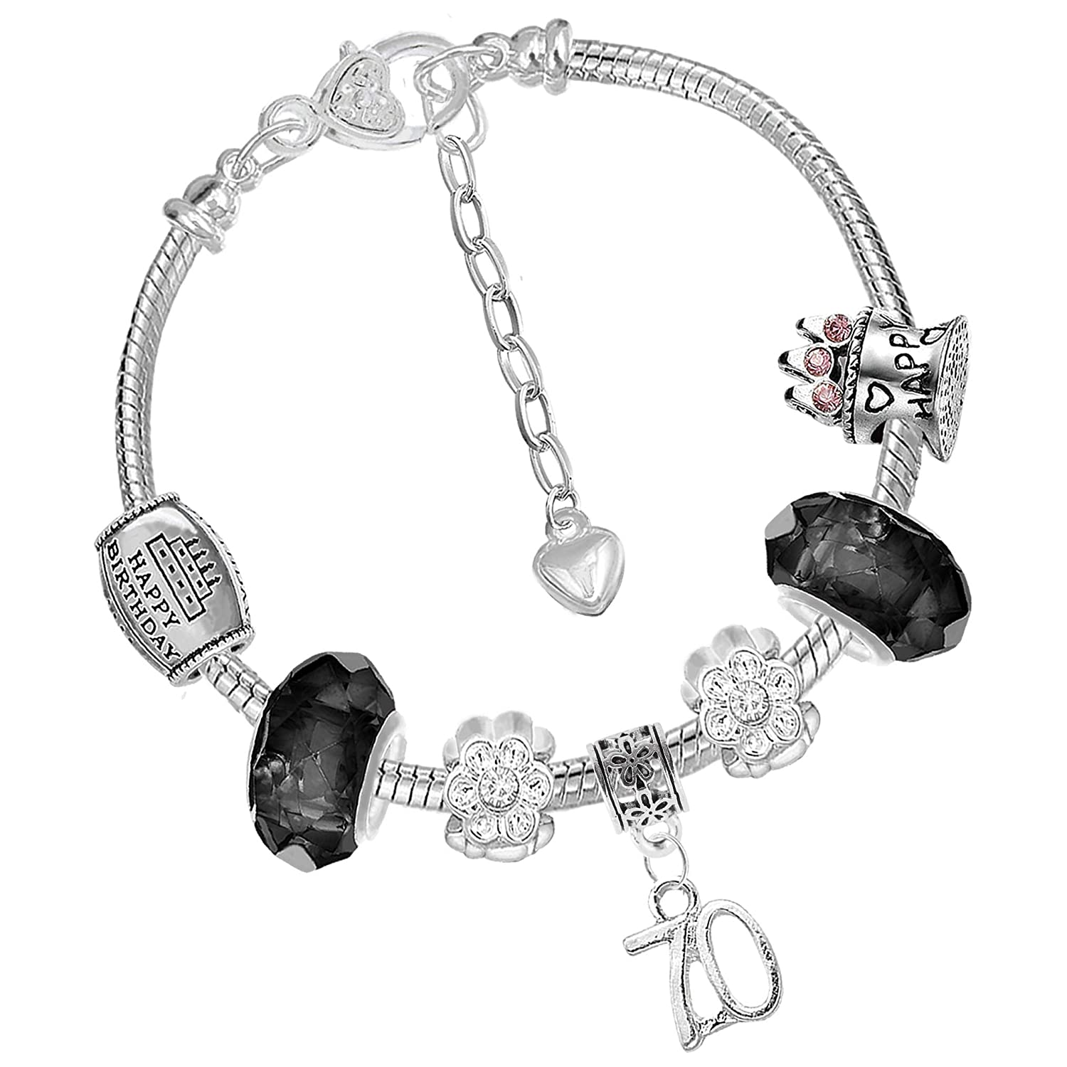 de3b237df0bbc 70th Birthday Good Luck Lucky Black Silver Pandora Style Bracelet with  Charms Gift Box Jewelry